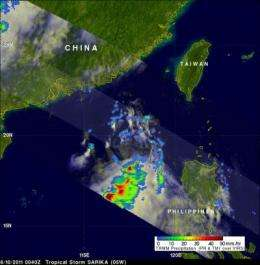 NASA sees heavy rainfall in Tropical Storm Sarika