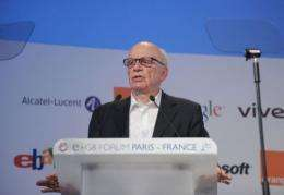 News Corporation Chairman and CEO Rupert Murdoch addresses the e-G8 Forum