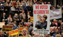 Protesters rally in Sydney on July 1 against a carbon tax