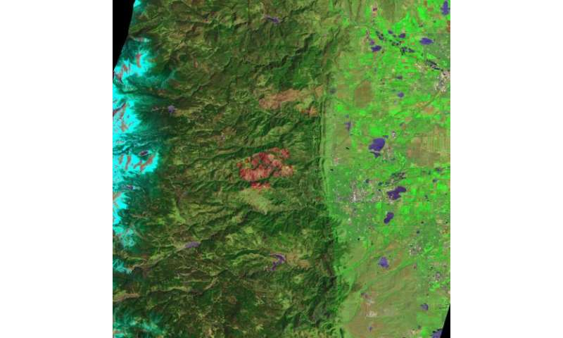 Satellite shows burn scar from Fourmile canyon fire of sept. 2010