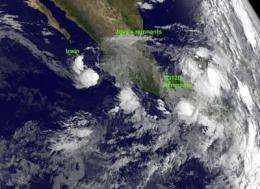 Satellites view 3 dying tropical systems in eastern Pacific