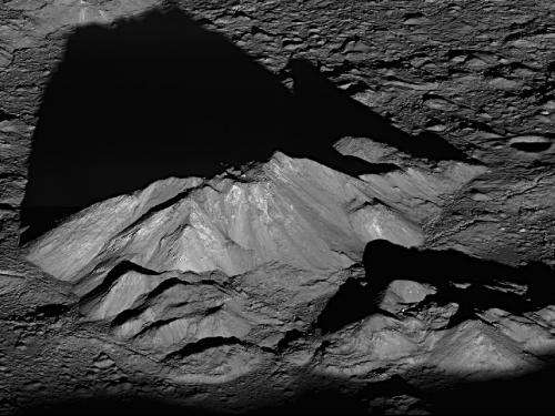 Sunrise view of Tycho crater's peak