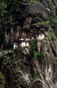 The Taktsang Monastery stands on a hillside near Paro, Bhutan