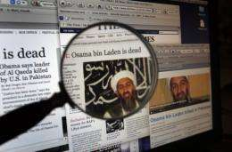 The websites of different anglophone newspapers reporting on the death of Al-Qaeda leader Osama bin Laden