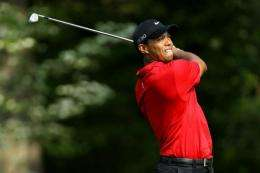 Tiger Woods watches his approach shot on the 11th hole during the final round of the 2011 Masters