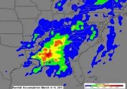 TRMM maps flooding along US East Coast from massive storm
