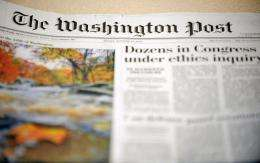View of the front page of The Washington Post