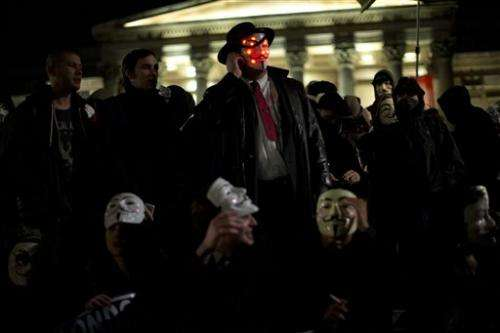 Anonymous movement protests on Guy Fawkes night