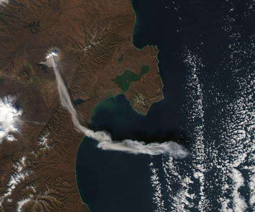 Ash plume from Shiveluch