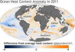 Back-to-back La Niñas cooled globe and influenced extreme weather in 2011