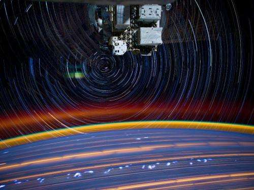Composite of a series of images taken from space aboard the space station