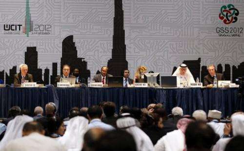 Hamadoun Toure (C) addresses a press conference at the WCIT-12 in Dubai on December 14, 2012