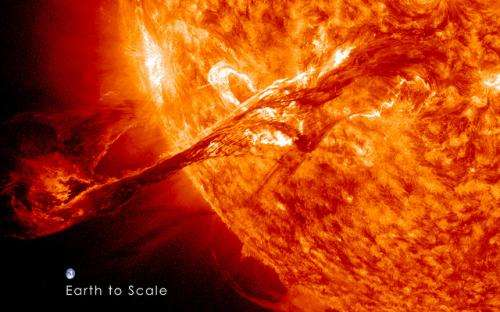 Huge eruption on the Sun revisited in spectacular HD
