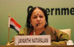 Indian Minister of Environment Jayanthi Natarajan addresses a press conference in New Delhi in 2011