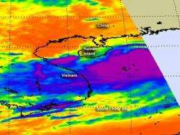 NASA reveals heaviest rainfall in Tropical Storm Talim's southwestern side