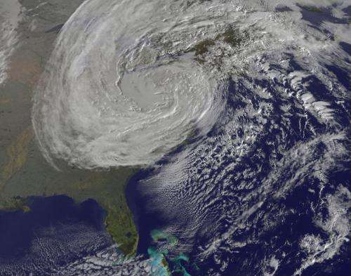 Satellite captures the life and death of Hurricane Sandy on Halloween