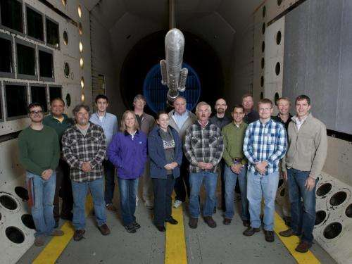 SLS model 'flies' through Langley wind tunnel testing