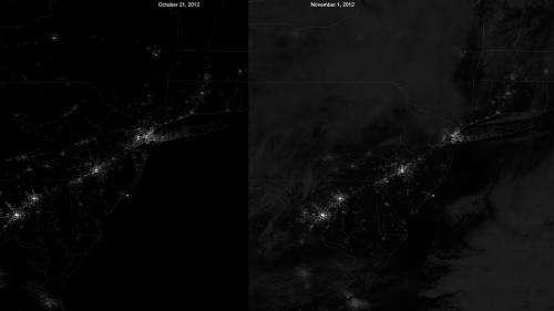 Suomi NPP satellite captures Hurricane Sandy's Mid-Atlantic blackout