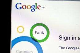 The sign-in page of social networking site Google+