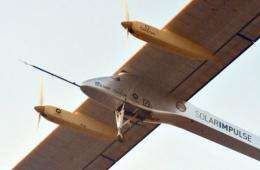 The Swiss-made solar-powered plane, Solar Impulse piloted by Bertrand Piccard, takes off from Rabat airport