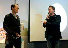 Twitter co-founders Biz Stone (R) and CEO Evan Williams