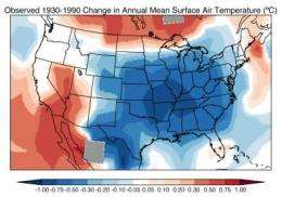 'Warming hole' delayed climate change over eastern United States