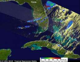 NASA's TRMM Satellite measures Debby's drenching Florida rains