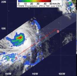 NASA's TRMM Satellite sees heavy rainfall in Tropical Storm Daniel's center