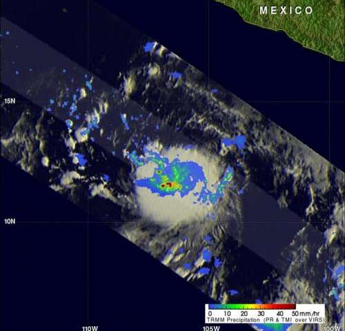 NASA sees tropical fireworks in E. Pacific in newborn Tropical Storm Daniel