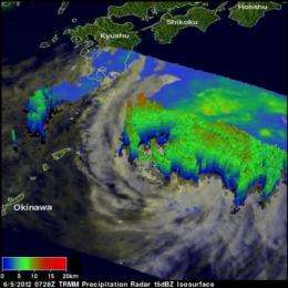 NASA satellites see changes in weakening Typhoon Mawar