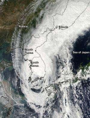 NASA sees powerful Typhoon Sanba make landfall