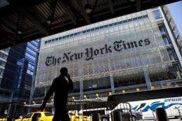The New York Times Co. said Thursday that first-quarter profit jumped sevenfold
