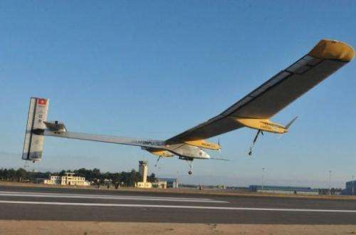 The Solar Impulse, piloted by Bertrand Piccard of Switzerland, takes off from Rabat airport