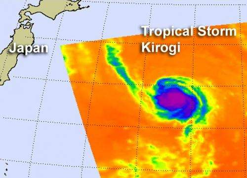 NASA sees Tropical Storm Kirogi headed for cooler waters