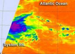 NASA satellite sees strength in developing Atlantic tropical low