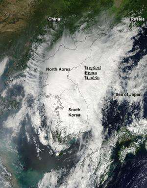 NASA sees Tropical Storm Tembin make landfall in South Korea
