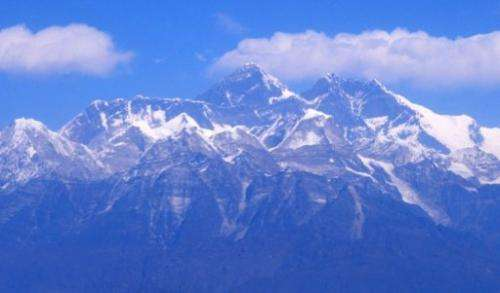 An aerial view of the Mount Everest range taken in February 2012