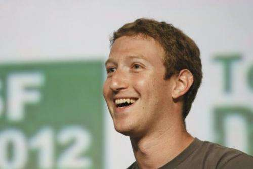 Facebook co-founder Mark Zuckerberg, pictured at a conference on September 11, 2012