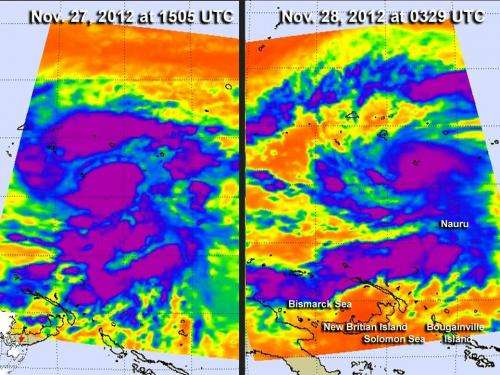 Infrared NASA imagery sees Tropical Storm Bopha grow a tail