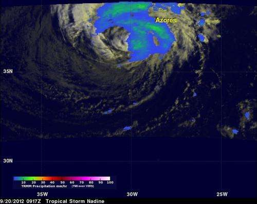 NASA satellites and Global Hawk see Nadine display more tropical characteristics
