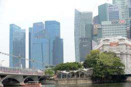 A general view shows haze and an overcast sky above the financial district in Singapore