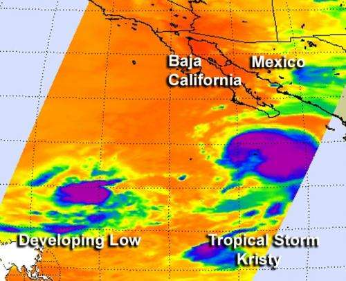 NASA's Aqua satellite sees Tropical Storm Kristy weaken, other system developing