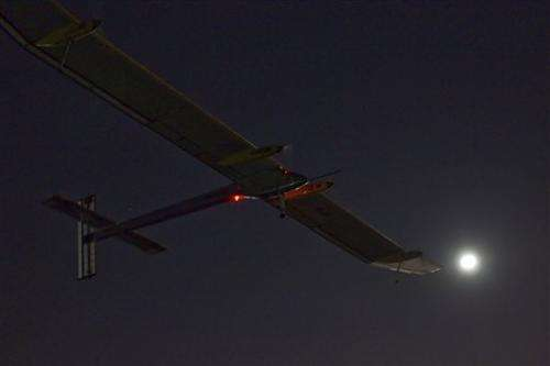 Solar-powered plane lands in Morocco