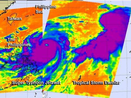 NASA infrared data compares Super Typhoon Jelawat with Tropical Storm Ewiniar