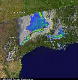 NASA's TRMM Satellite sees tornadic Texas storms in 3-D