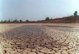 A dried out lagoon in Brazil in 1998