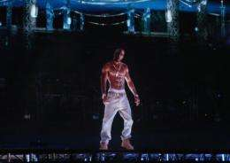 A hologram of deceased rapper Tupac Shakur performs onstage during the 2012 Coachella Valley Music & Arts Festival