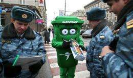 A man dressed as a dustbin at a Moscow protest over waste disposal