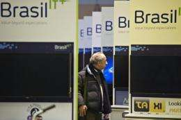 A man walks through the Brazil exhibition prior to the opening of the CeBIT IT fair on March 5