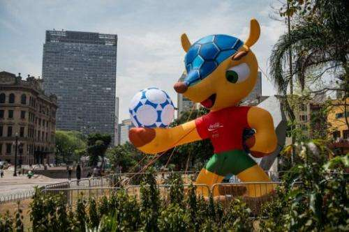 An inflatable mascot of the FIFA World Cup Brazil 2014, a